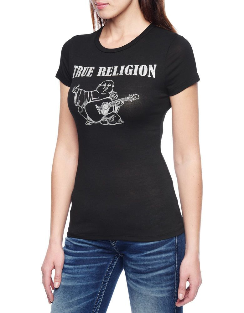 baf4b889 $75 TRUE RELIGION BLACK HAND PICKED LOGO CRYSTAL TEE T SHIRT TOP XS WOMENS  NEW #TrueReligion #GraphicTee