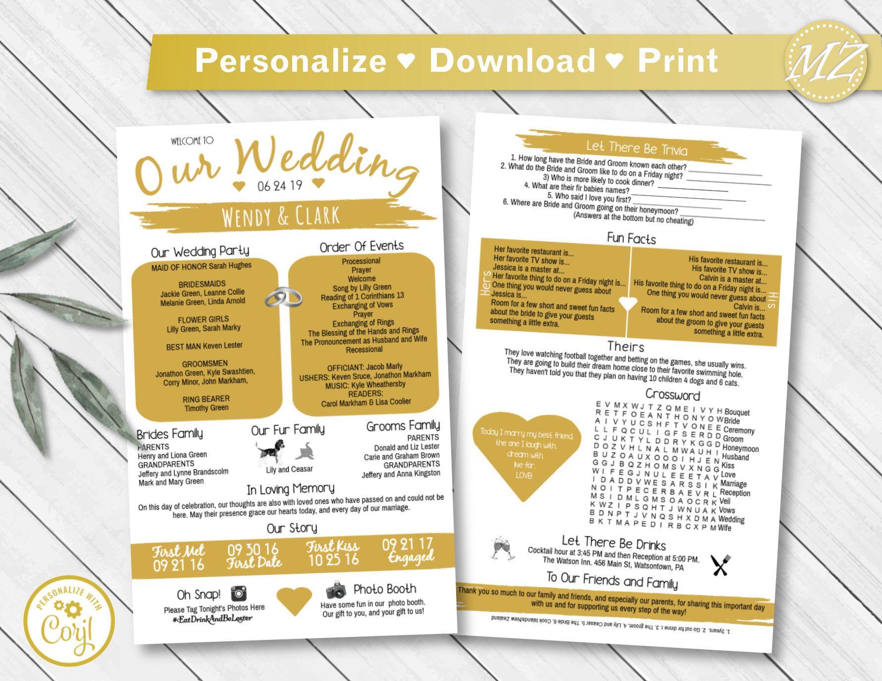 Wedding Program Template 5x8 2 Sides Infographic Timeline Etsy Wedding Checklist Template Wedding Reception Timeline Wedding Programs