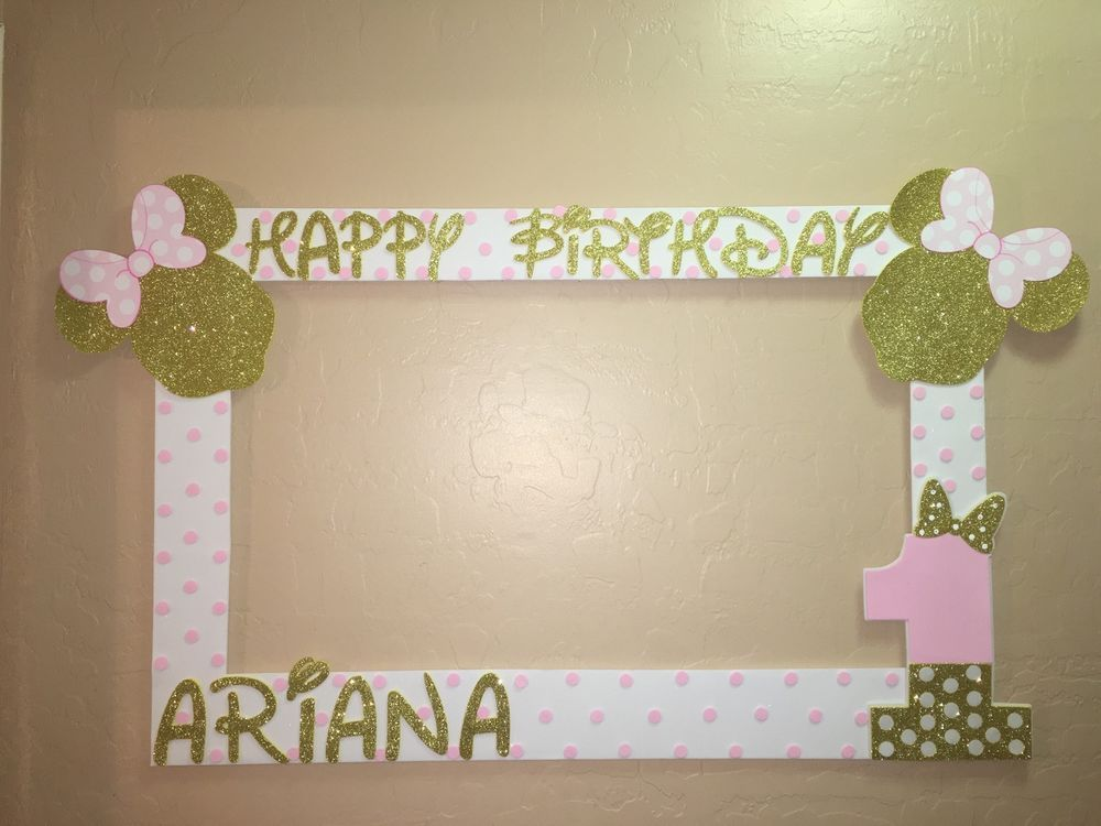 Photo Booth Frame To Take Pictures Minnie Mouse Pink Gold Birthday ...