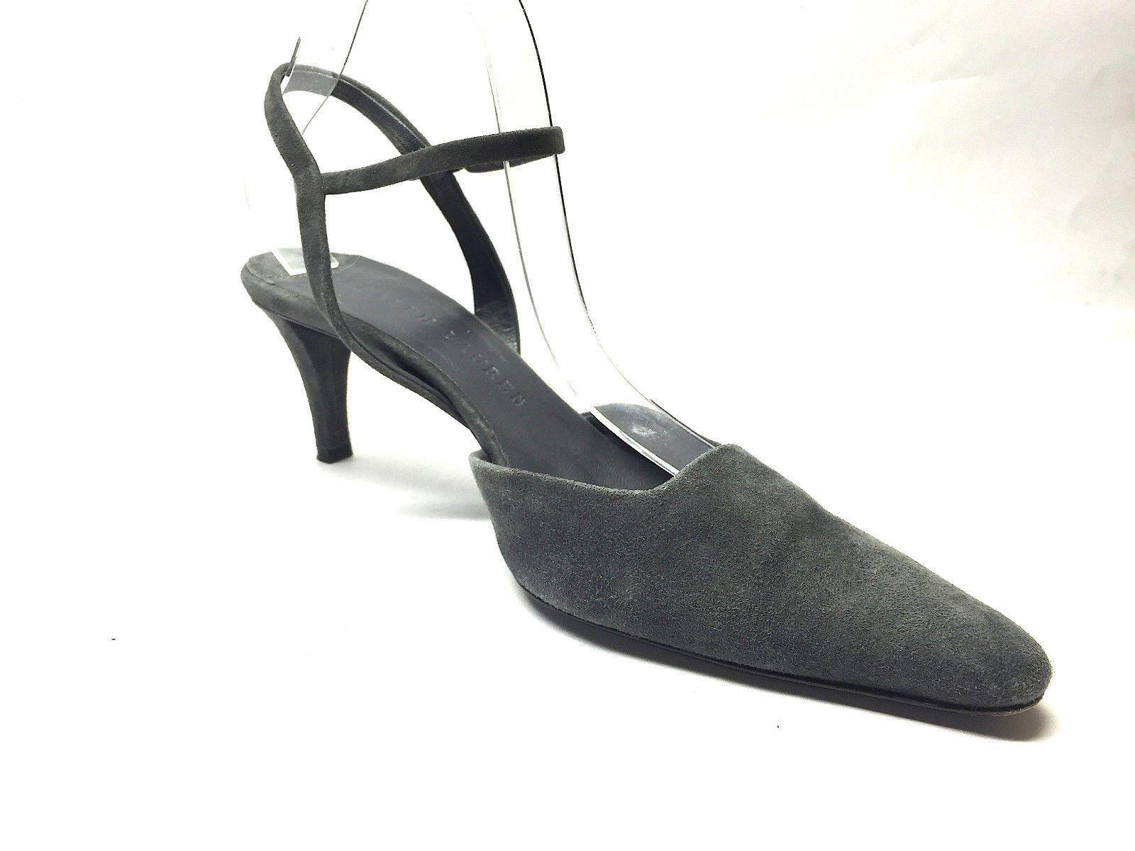 RALPH LAUREN Graphite-Gray Suede Ankle Strap Heel Slingback Pumps Shoes Size: 7
