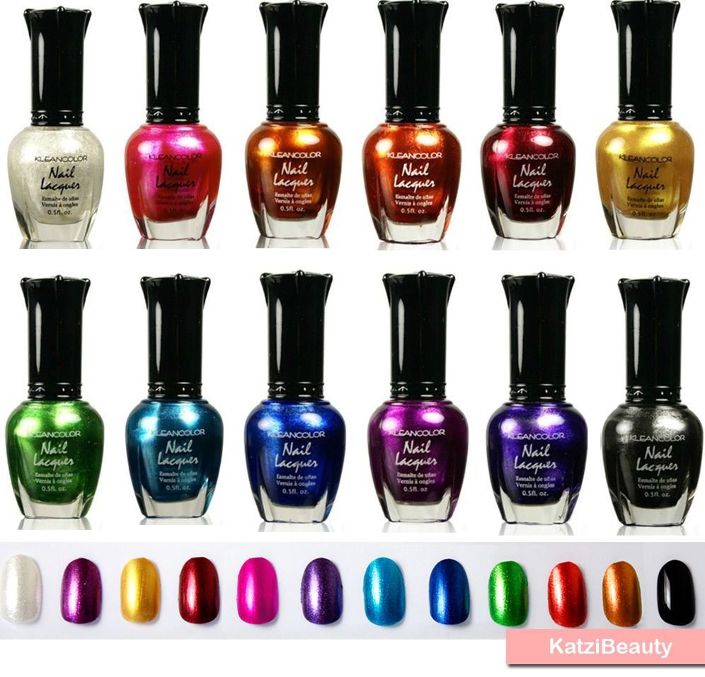 kleancolor nail polish - Metallic Colors Nail Lacquers 12 pcs Set ...