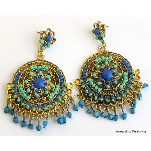 Blue Color Metallic Gold Antique Earrings