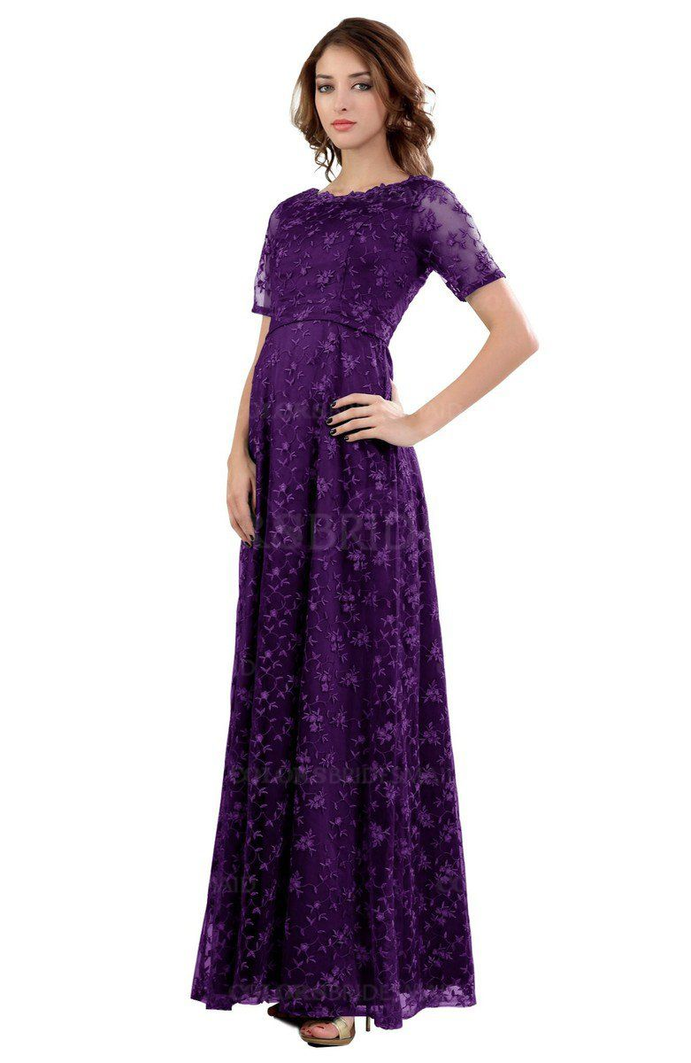 a17df05d370a Amaranth Purple Gorgeous Column Scalloped Edge Short Sleeve Floor Length  Lace Bridesmaid Dresses is available at colorsbridesmaid.com.