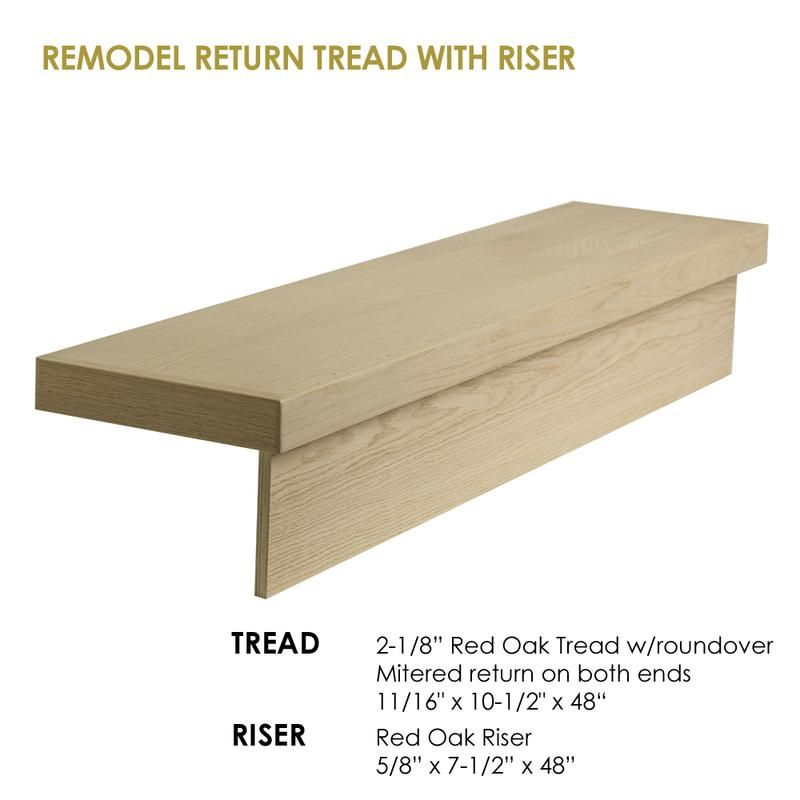 48 Modern Retrofit Return Tread Kit With Riser Cheap Stair Parts Cheap Stair Parts Stair Remodel Wood Stair Treads