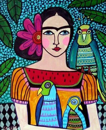 Mexican Folk Art Frida Kahlo Print Poster Of Painting Parrots Bird