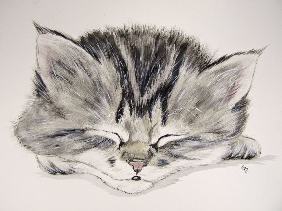 Original Watercolor Painting Of Kitten Cat Art Watercolour Art