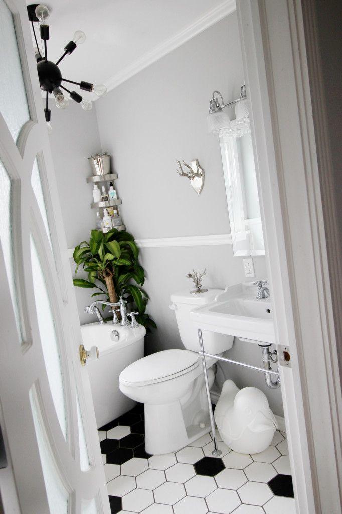Bathroom renovation black white hexagon tile Home Sweet Home