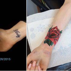 Traditional red rose tattoo on the right inner wrist. Tattoo artist: Matt Webb
