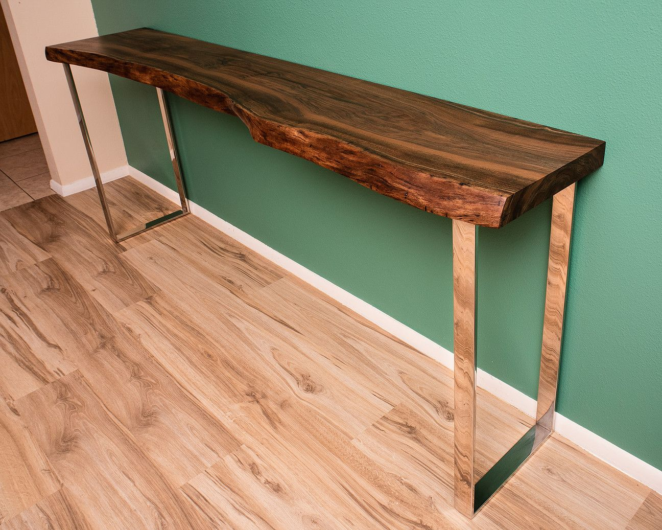 Black Walnut Live Edge Console Table With Modern Polished Stainless Steel Legs Designed And Handcra Live Edge Console Table Wood Slab Table Live Edge Furniture