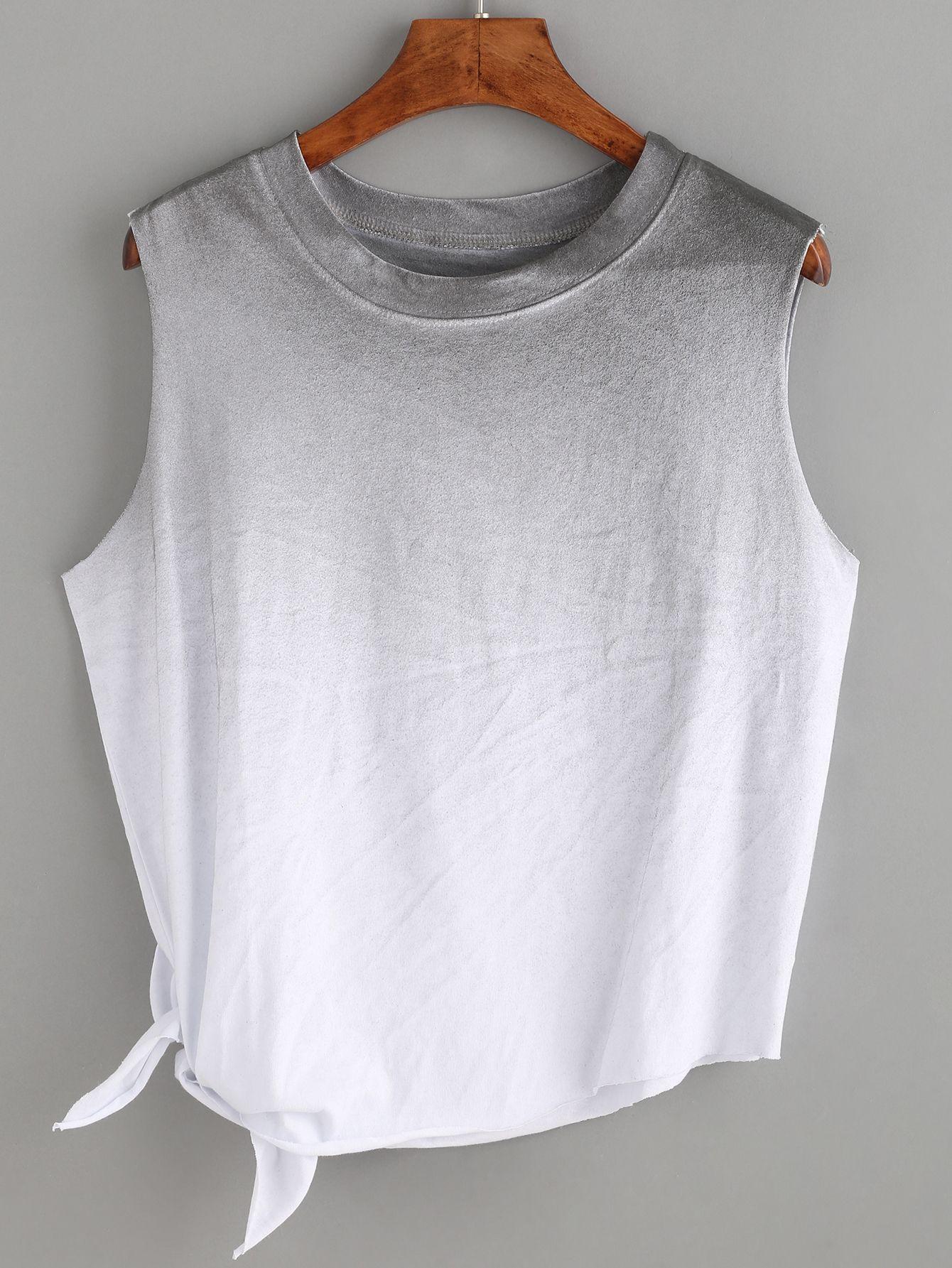 Shop Grey Ombre Side Tie Sleeveless Top online. SheIn ...