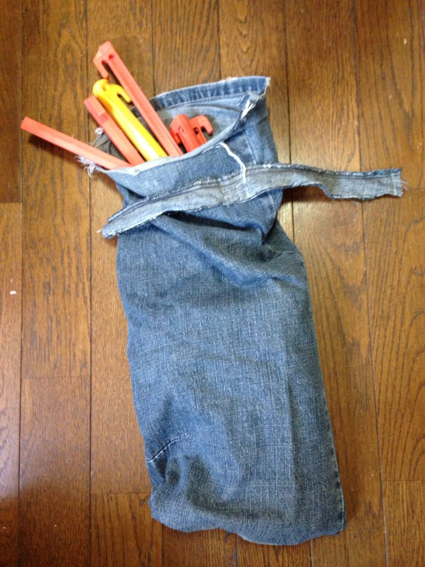 DIY REUSE RECYCLE Tent Peg Bag Hammer Bag My Used Denim Pants Jeans ??????? & DIY REUSE RECYCLE Tent Peg Bag Hammer Bag My Used Denim Pants ...