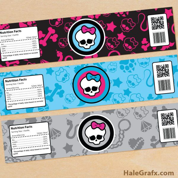 Free Printable Monster High Water Bottle Labels | Party