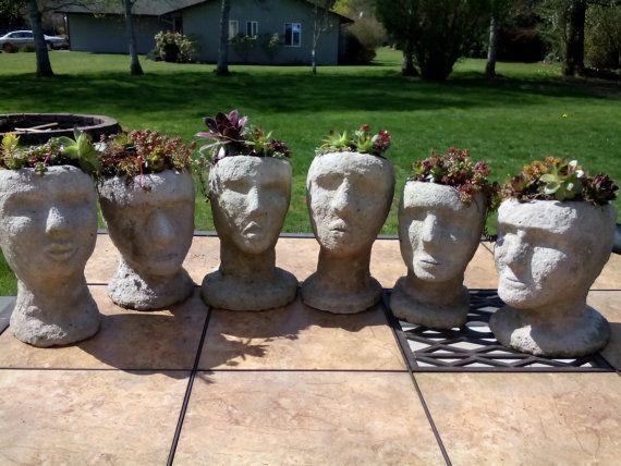 Exceptional Garden Gift, Pot, Head, Succulent, Planter, Outdoor, Yard, Art, Unique,  Hypertufa, Concrete, Face, Cement, Moss Growing