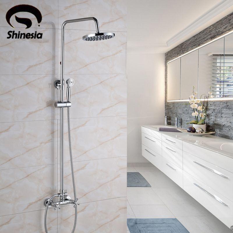 Solid Brass Chrome Bathroom Shower Faucet Sets 8\