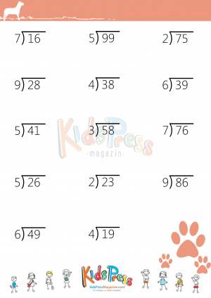 Division Problems With 2-Digit Dividends (1st Sheet) | Math ...
