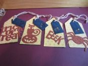 Set of 4 Sparkly Halloween tags
