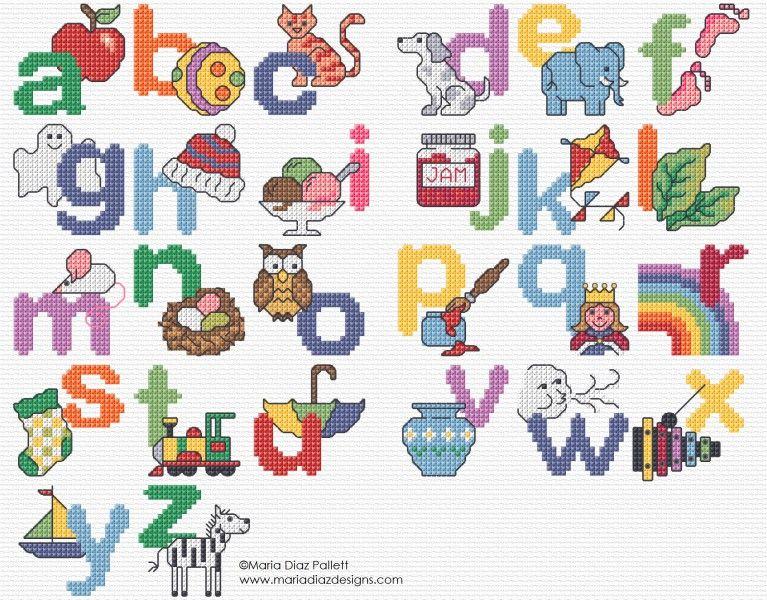 Maria Diaz Designs: A is for Apple | abecedario en punto cruz ...