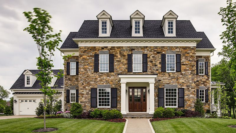 Colonial New Build With Stone Facade Colonial House Exteriors Brick Exterior House Colonial House Plans