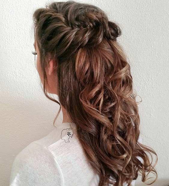 Braid Curl Wedding Hair: 31 Half Up, Half Down Hairstyles For Bridesmaids