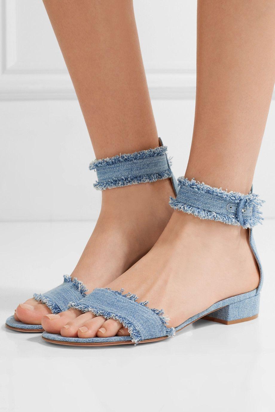 Gianvito Rossi Portofino Frayed Denim Sandals Net A Porter Com Fashion Shoes Comfortable Block Heels Denim Sandals