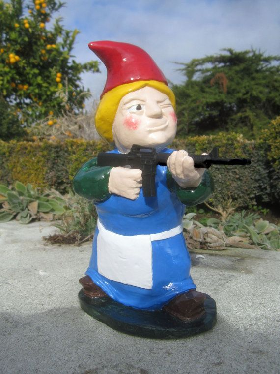 PREORDER Combat Garden Gnome Female Rifleman with M16 by thorssoli, $68.00