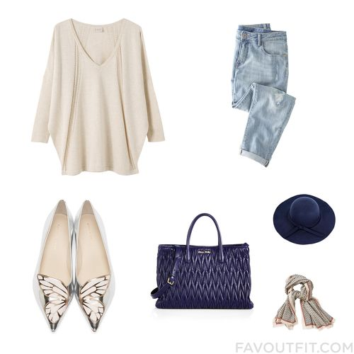 Outfit Selection Featuring East Sweater, Boyfriend Jeans, Sophia Webster Flats And Blue Leather Handbag From October 2015