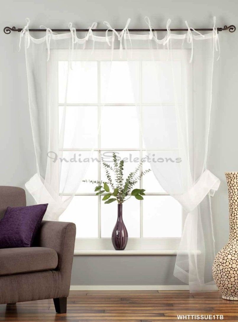 White sheer curtains ideas white tie top sheer tissue for Bedroom curtain ideas