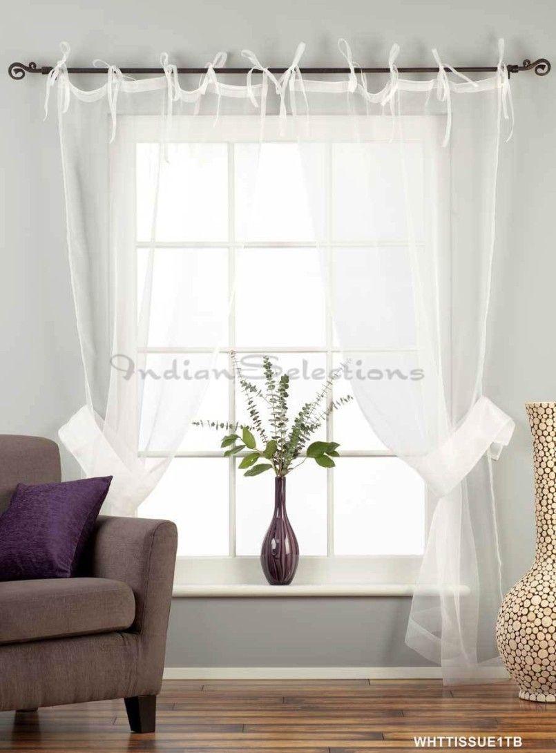 White Sheer Curtains Ideas Tie Top Tissue Curtain Drape Panel Nidahspa