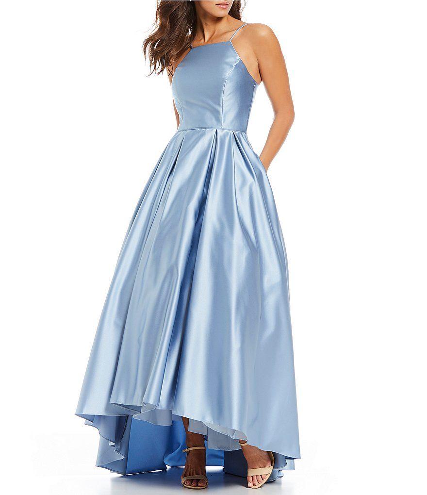 72ac559d205d6 Betsy   Adam Halter Hi Lo Satin Ball Gown