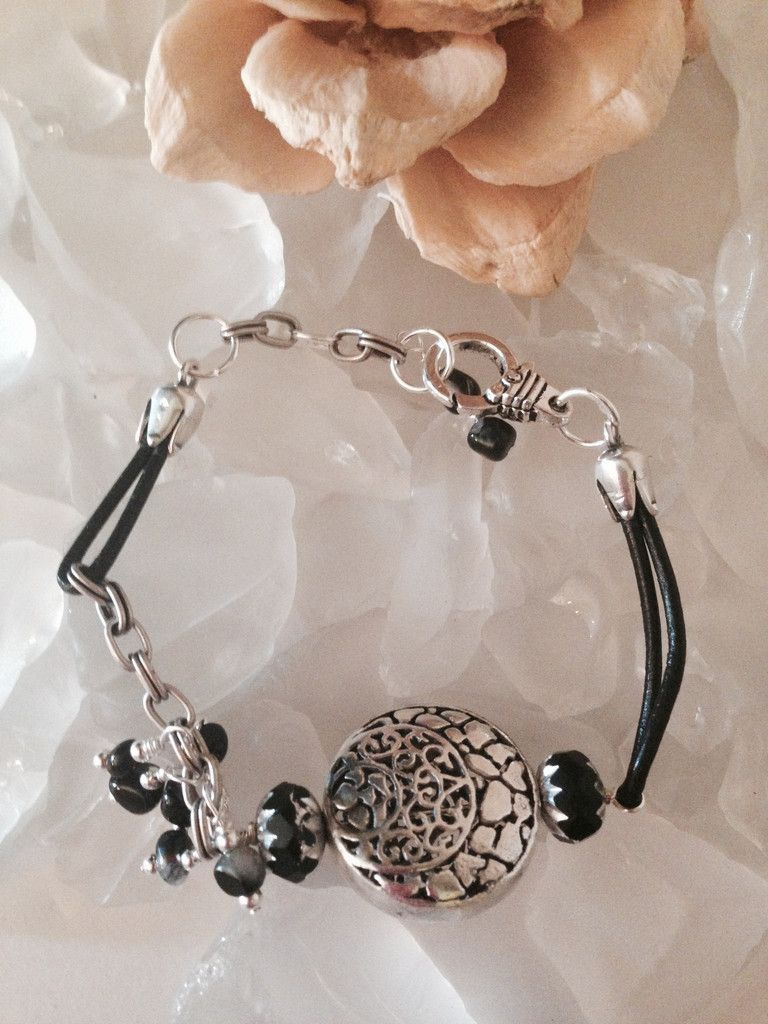 Leather and Chain Agate /Silver Beaded Bracelet