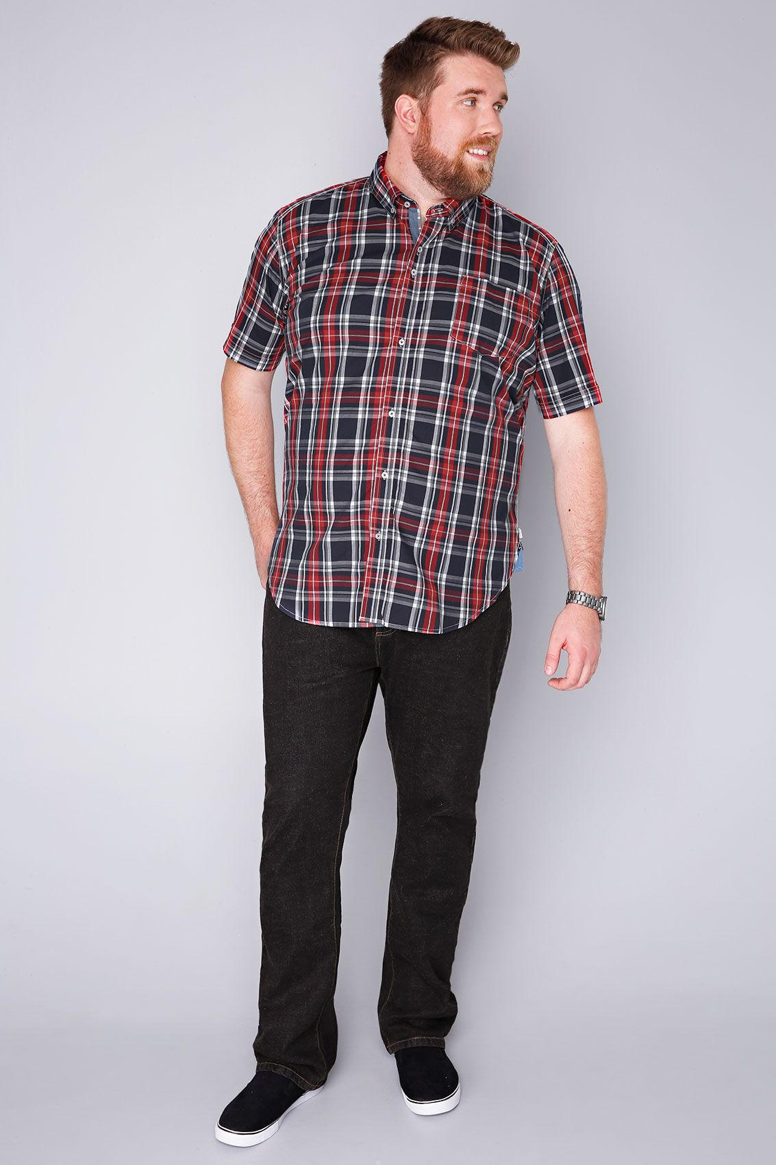 8eb7f3203ce351 BadRhino Red & Navy Checked Short Sleeved Shirt - TALL | Gift ideas ...