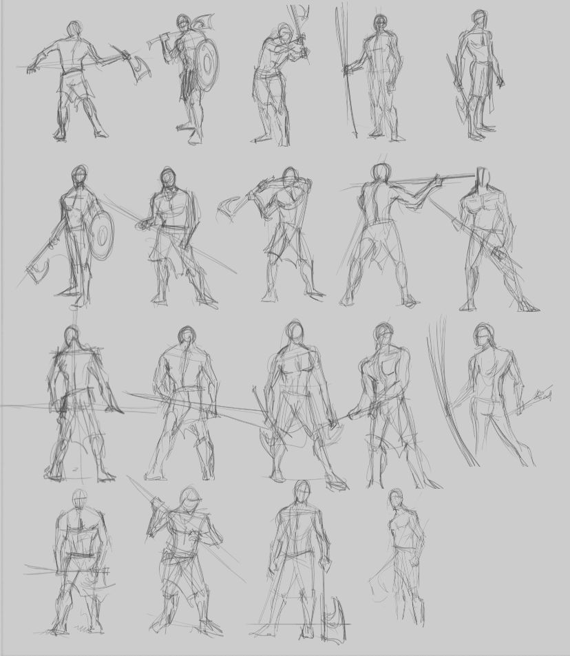 It is an image of Gutsy Warrior Pose Drawing