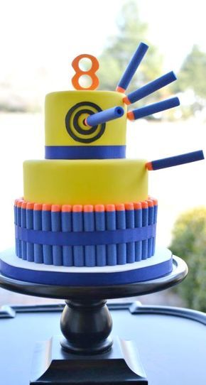 Nerf Gun Party Cake - For all your cake decorating supplies, please visit  craftcompany.