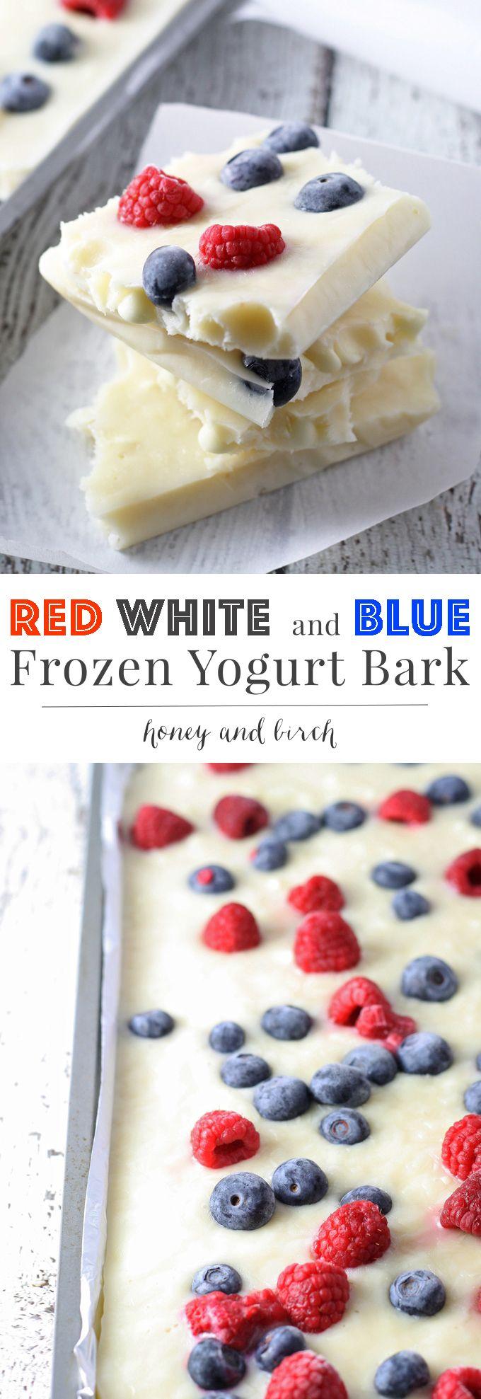 Red White and Blue Frozen Yogurt Bark