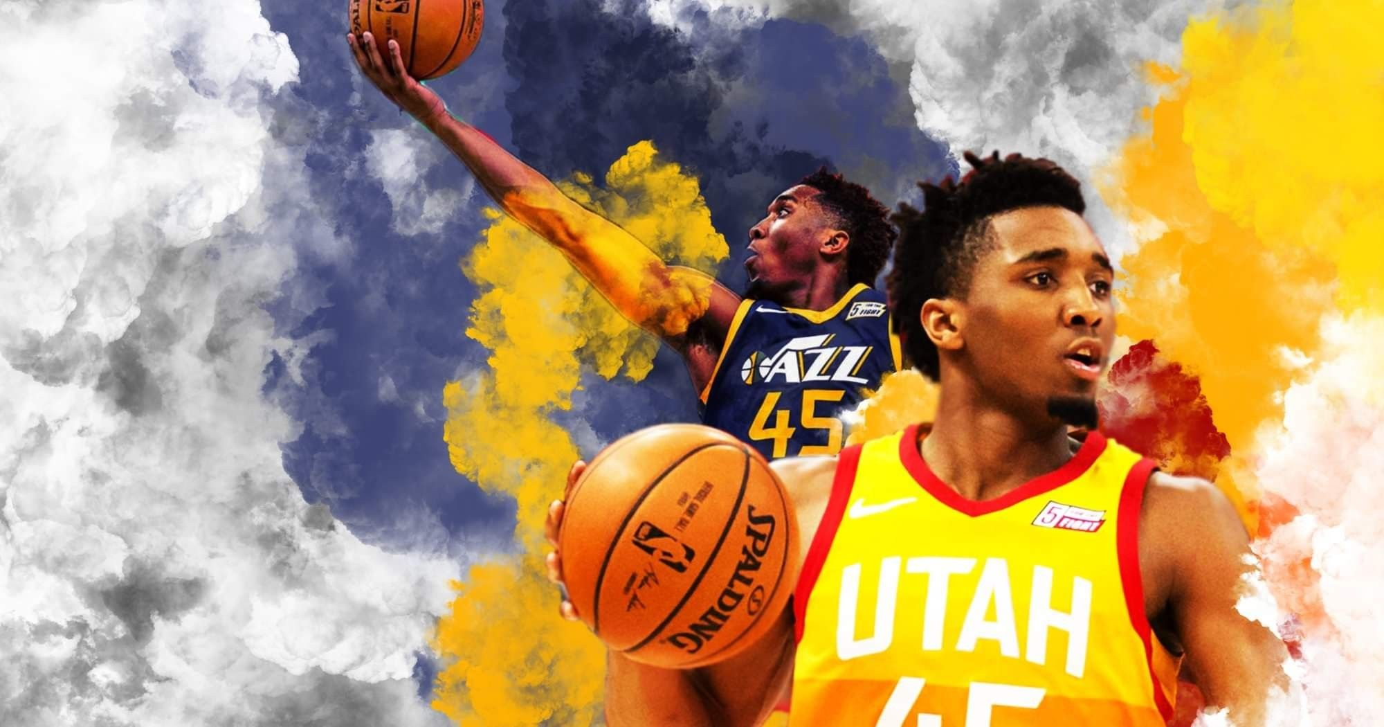 reputable site 683c3 8912f Donovan Mitchell in the Utah city Jersey Red Rock Style. By ...