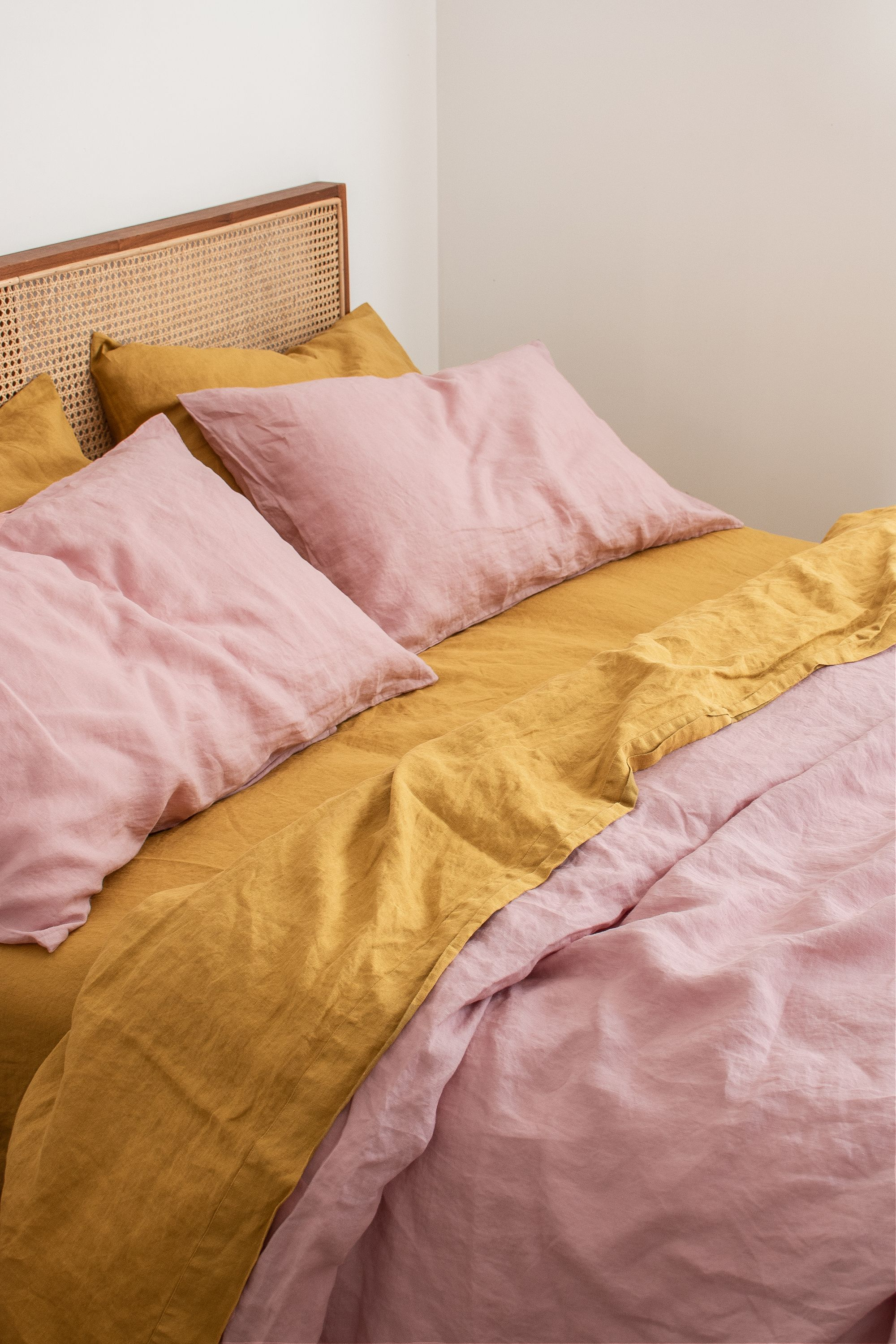 Nothing Beats Mustard Wildflower Pink 100 Pure French Flax Linen Bedding Sourced From France And Delive In 2020 Bedroom Inspirations Upstairs Bedroom Bedroom Bliss