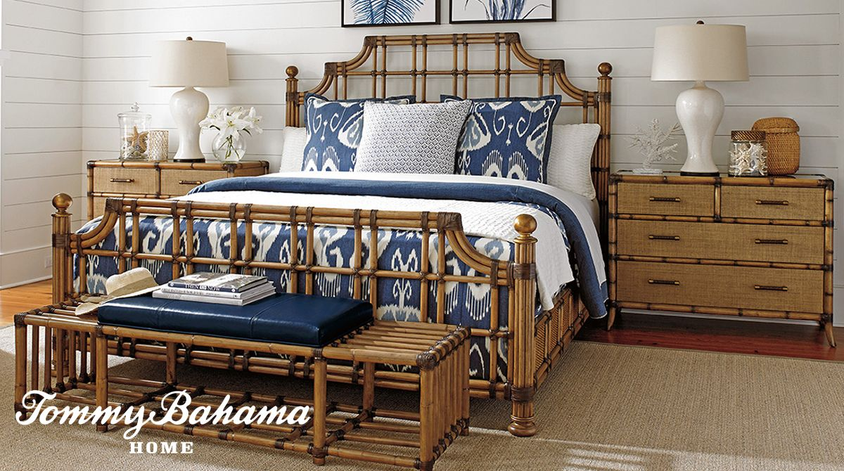 This Tommy Bahama bedroom evokes a restful island retreat