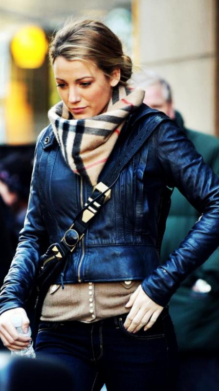 leather jacket, scarf