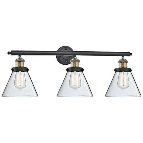 Cone Collection 32 Wide Clear Glass Black Brass Bath Light 1g782