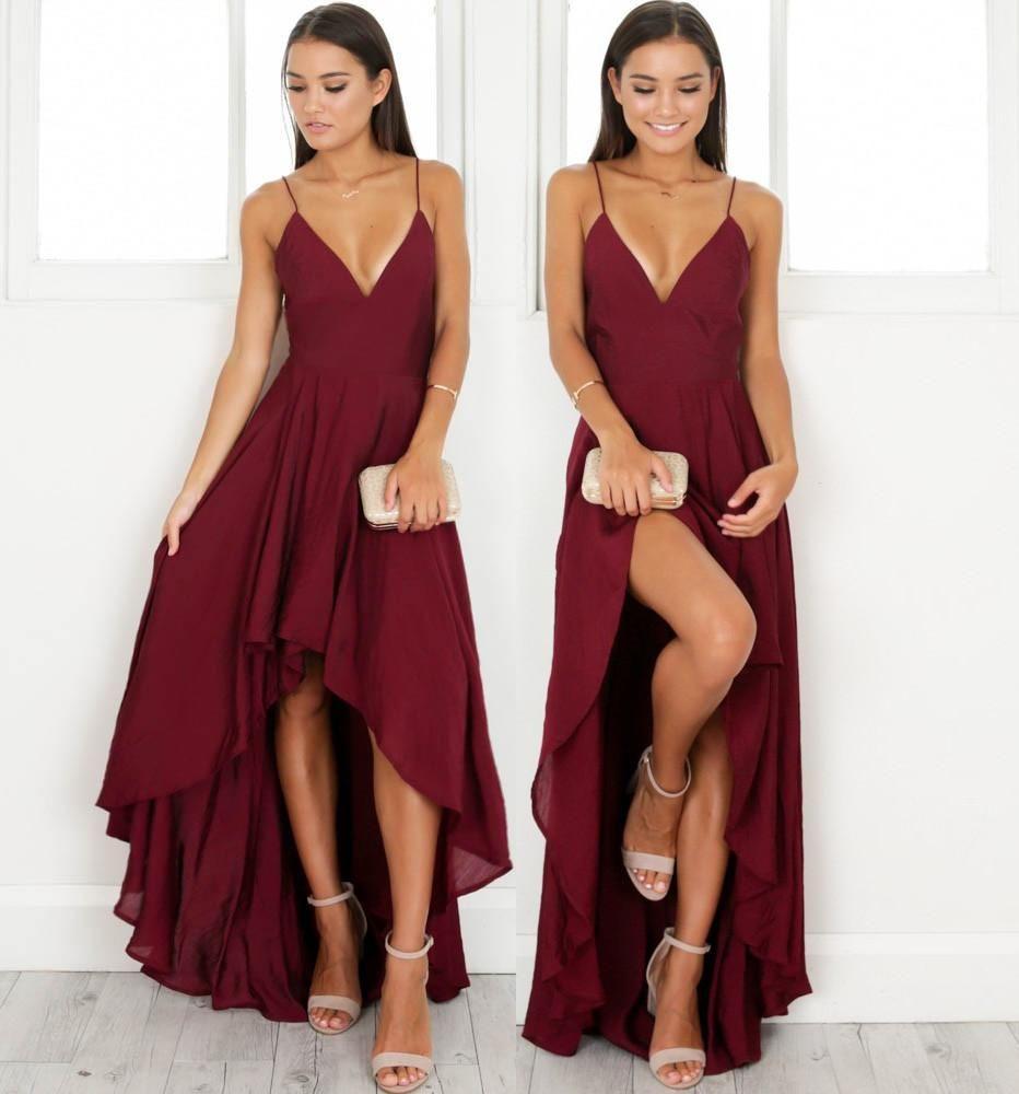Elegant Straps V Neck Burgundy High Low Chiffon Party Dress