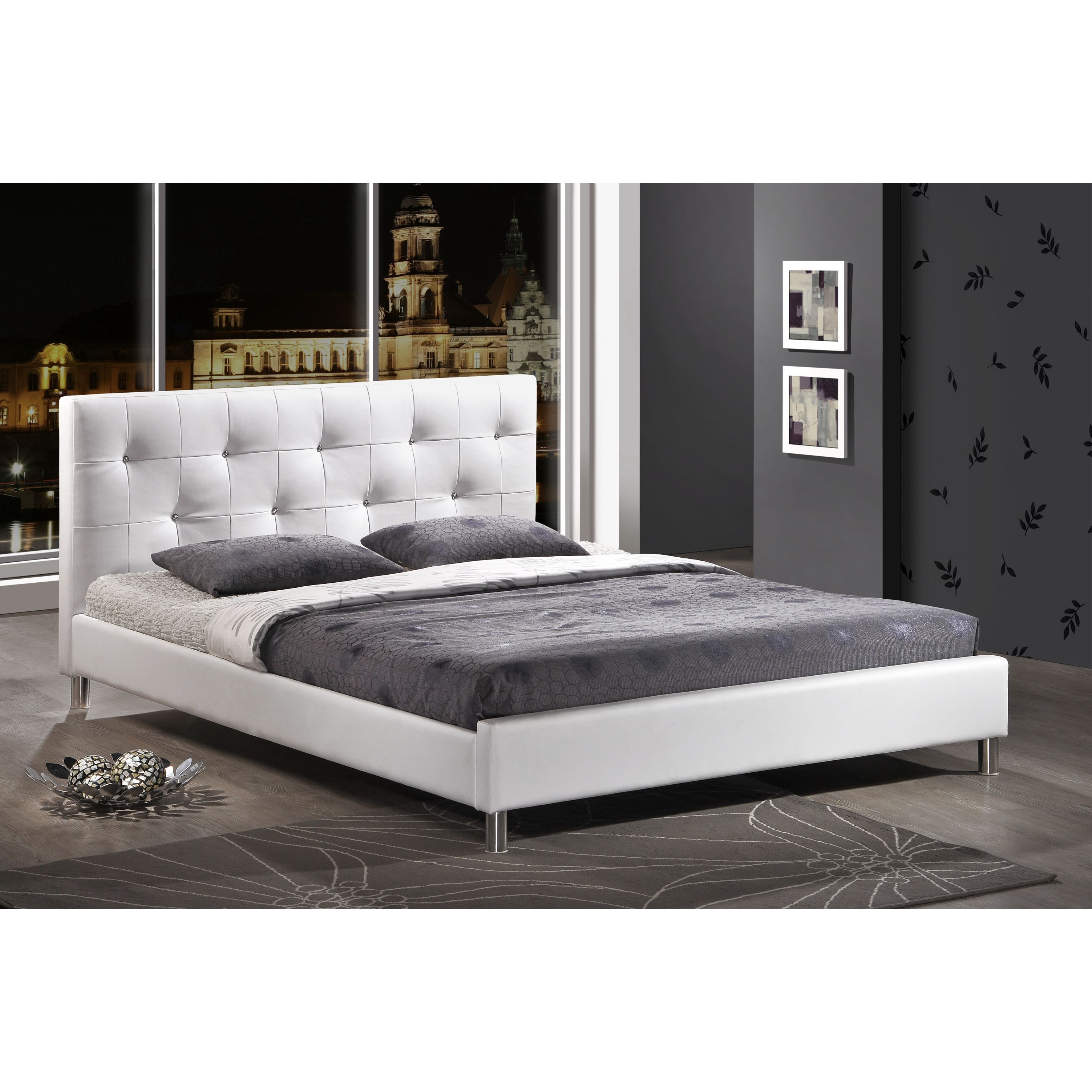Barbara Modern Full Size Bed With Crystal Button Tufting   Overstock  Shopping   Great Deals On Beds