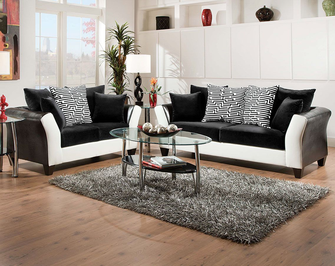 Black White Couch Set Patterned Pillows Zig Zag Sofa - Love seat and sofa