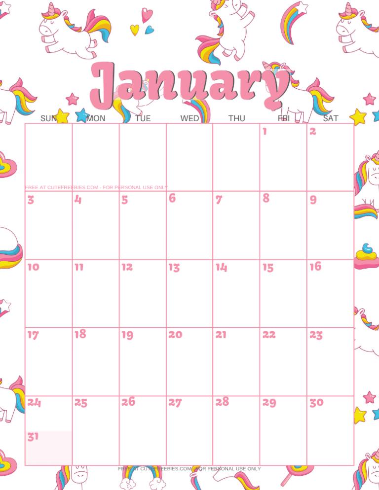 Cute Unicorn 2020 2021 Calendar - Free Printable! - Cute ...