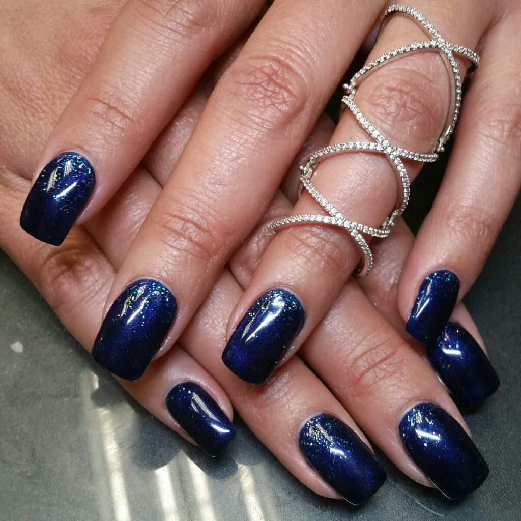 Navy Blue And Sparkle Gel Nail Designs Done At Zaza Salon And Day
