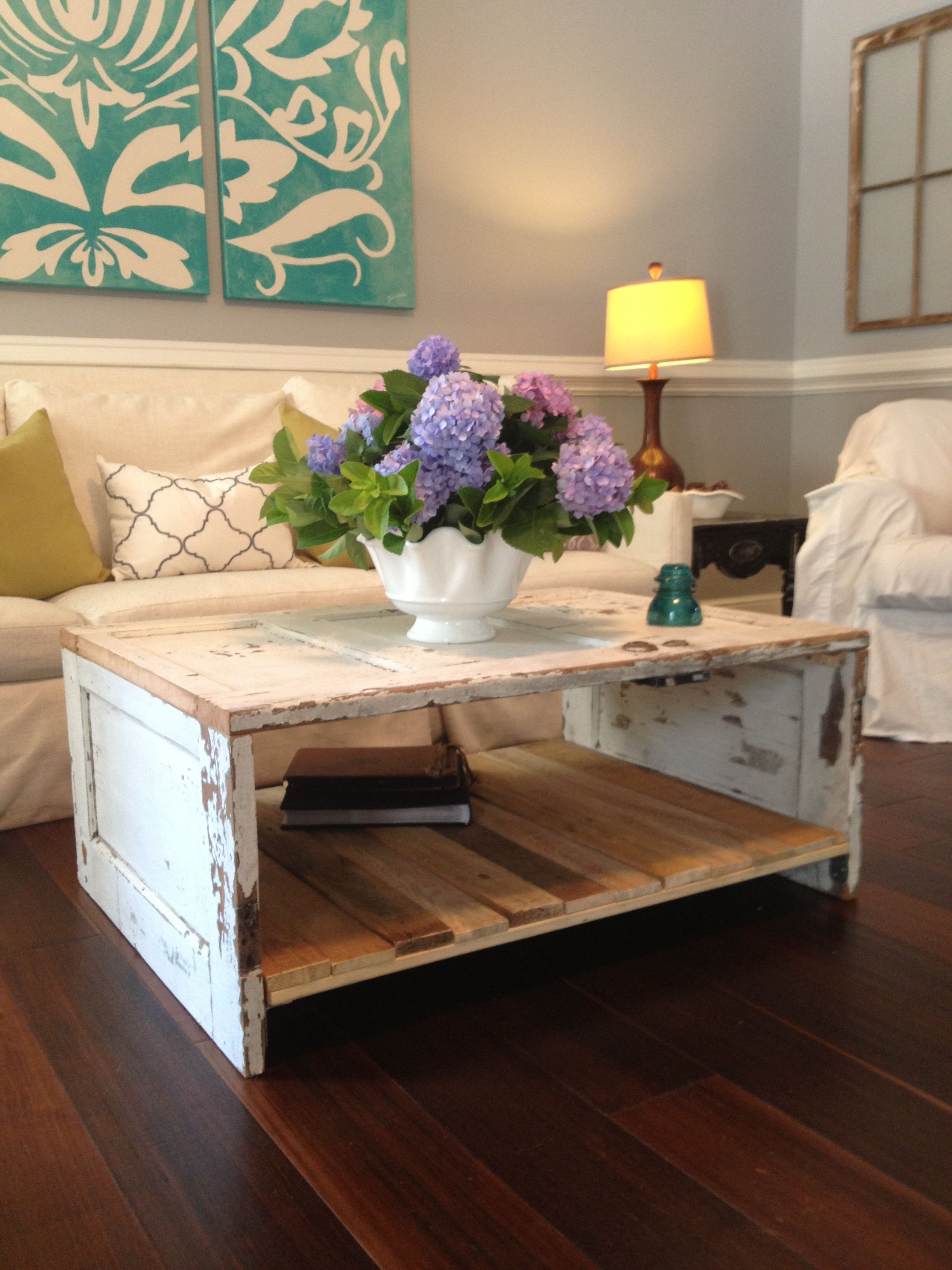 Coffee table made from an old door Home Sweet Home