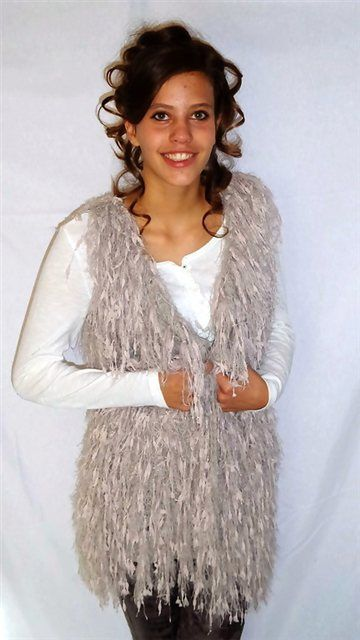 Gilet 'Woolly Fringes', taupe