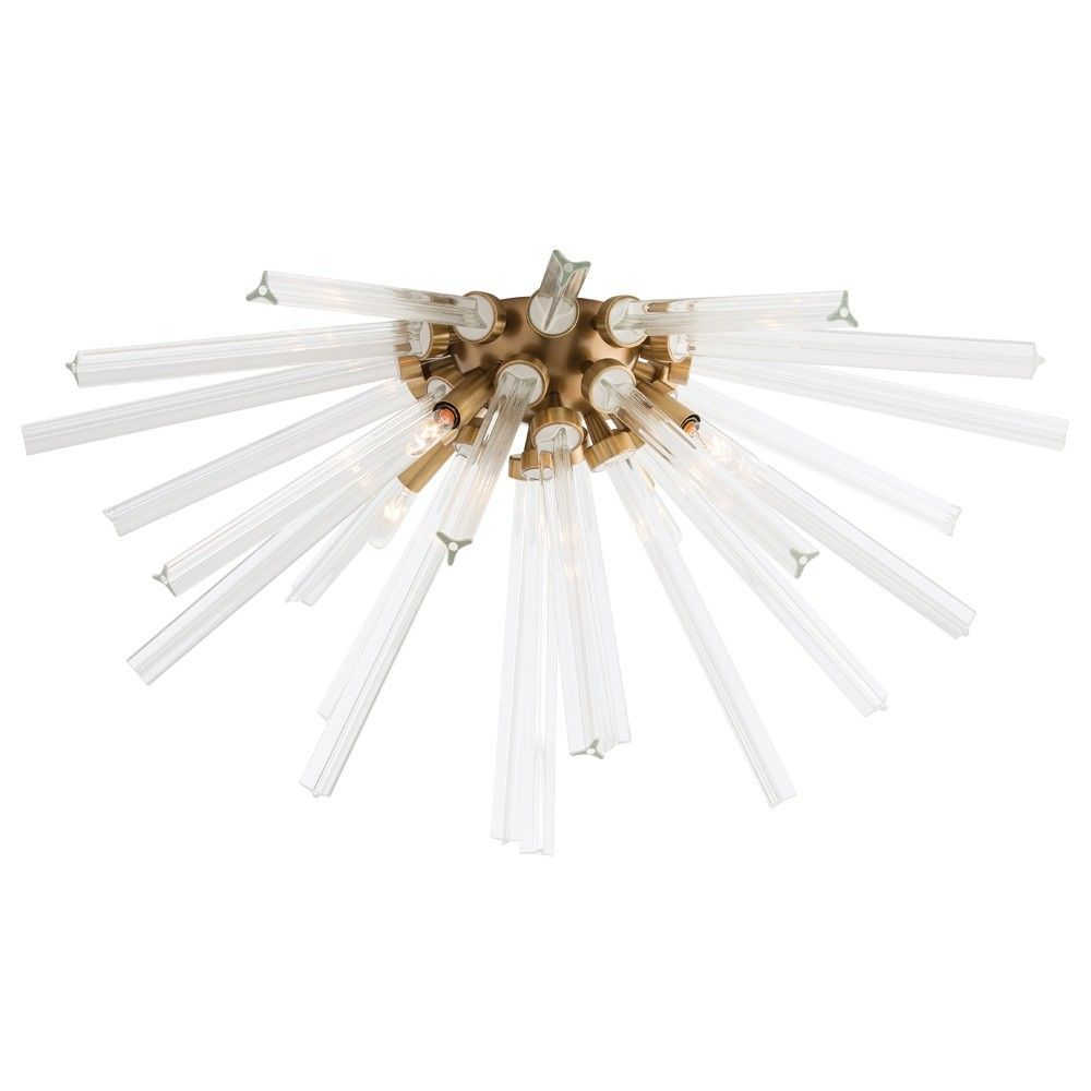 Our popular Hanley design is now available as a Flush Mount, perfect for the powder room or hallway. Featuring the same fluted glass and antique brass dome, this beautiful light takes the sunburst trend up a notch. Shown with small clear tubular bulbs. Approved for use in covered outdoor areas.  Material: Steel Finish: Antique Brass