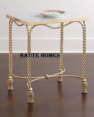 Details About New Designer Horchow Tassel Gold Iron Marble Top
