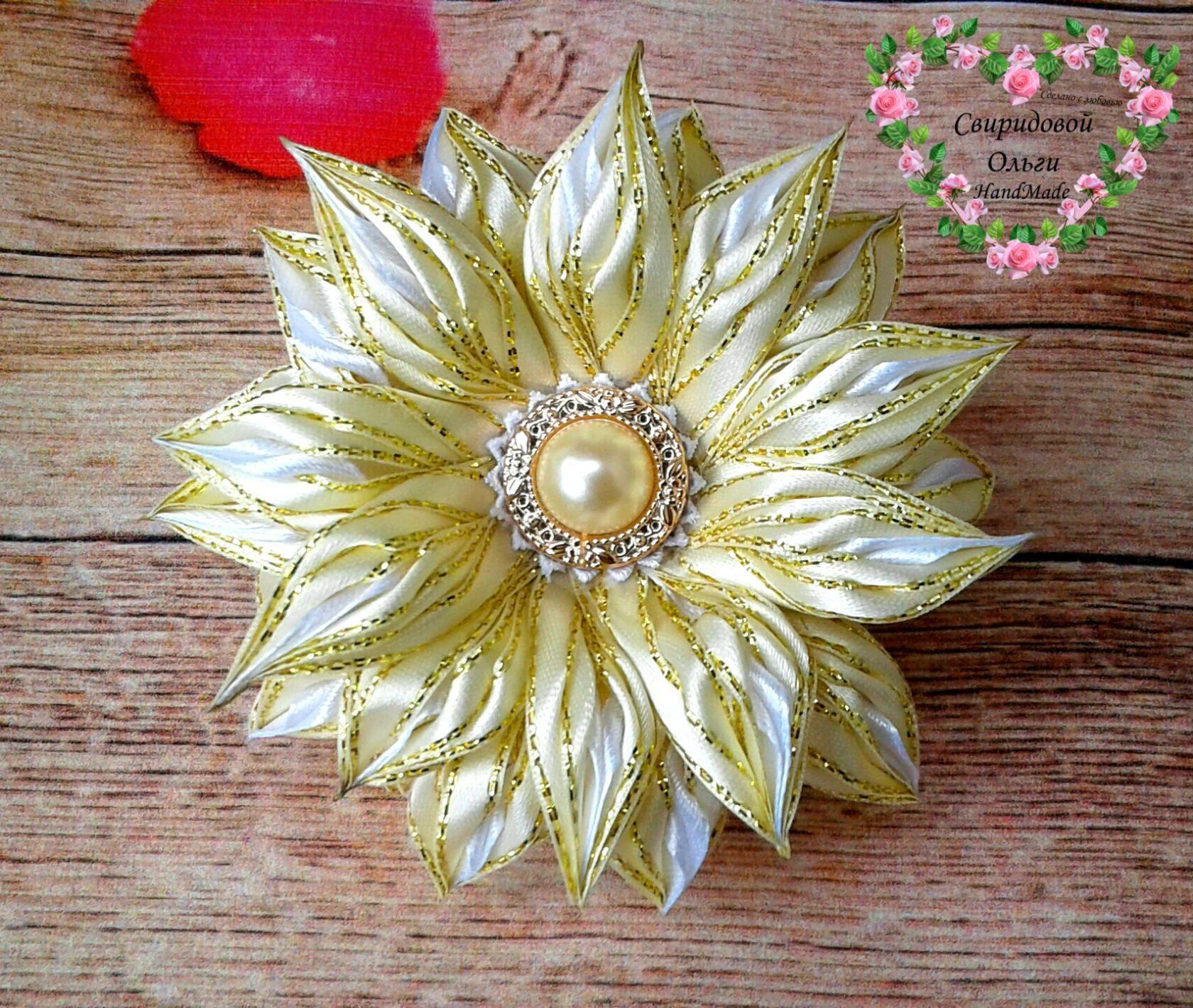 Цветы из ленты для резиночек
