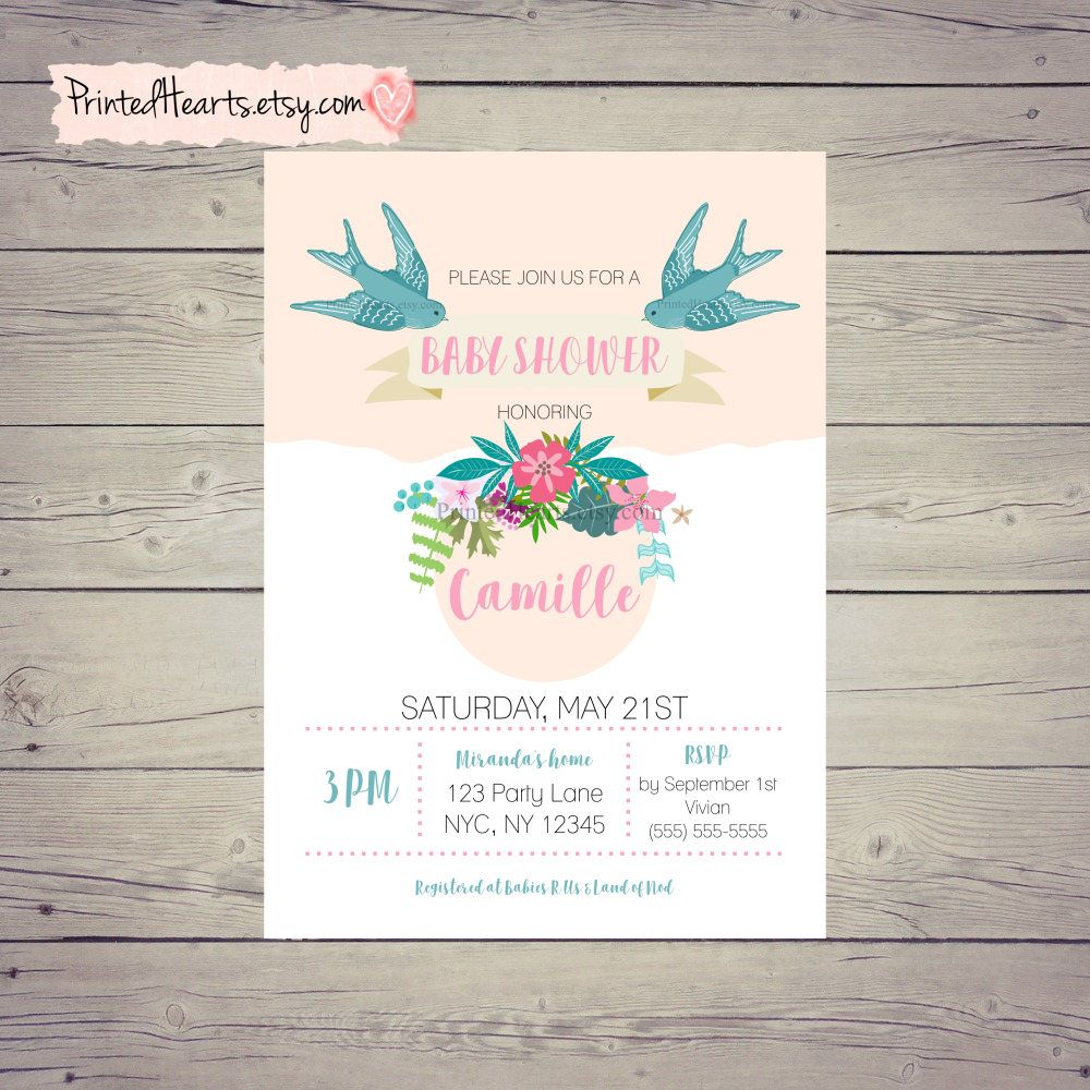 Baby shower invitation floral spring baby shower invitations baby shower invitation floral spring baby shower invitations bohemian baby shower bird baby filmwisefo